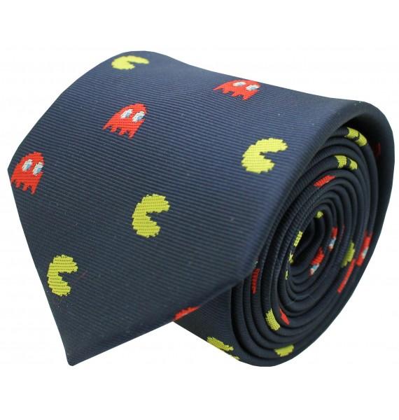 navy blue pacman silk necktie