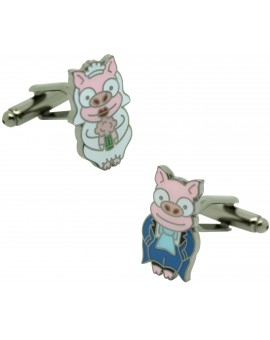 Cufflinks Simpsons wedding pigs