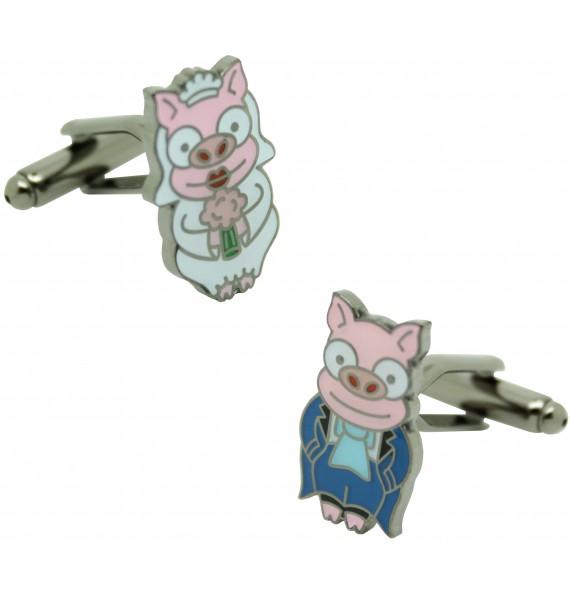 Cufflinks Simpsons wedding pigs