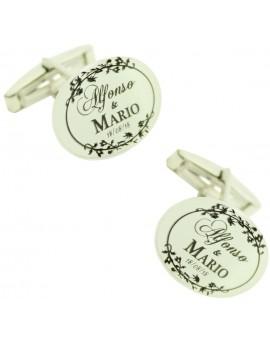 Custom cufflinks with date Wedding 925 Silver