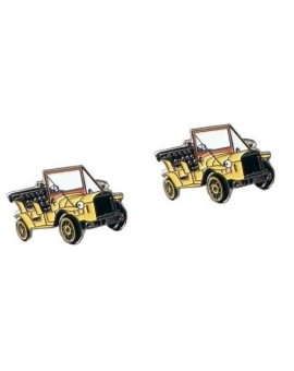 Vintage Yellow Car Cufflinks