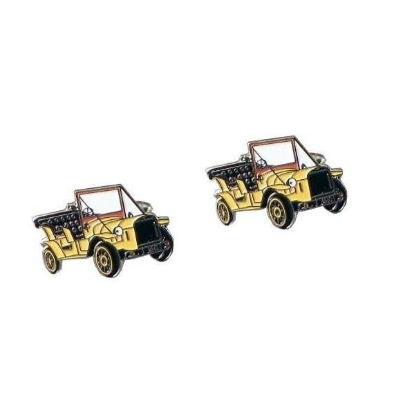 Vintage Yellow Car Cufflinks