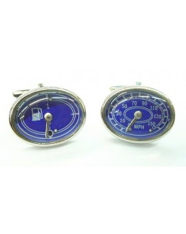 Blue Speedometer and Fuel Gauge Cufflinks