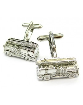 Silver Plated Fire Truck Cufflinks