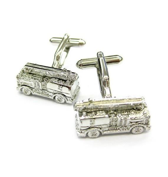 Silver Plated Fire Truck Cufflinks