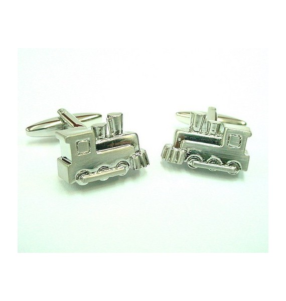 Silver Plated Train Engine Cufflinks