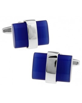 Silver Wrapped Blue Catseye Cufflinks