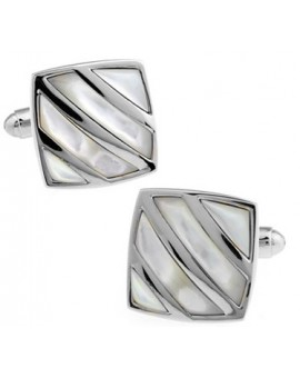 Silver and Mother of Pearl Striped Square Cufflinks