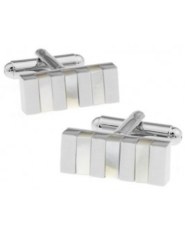 Silver and Mother of Pearl Striped Cufflinks