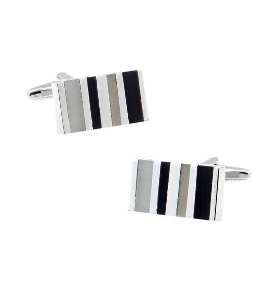 Black and Grey Striped Rectangle Cufflinks