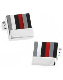 Multicolored Striped Square Cufflinks