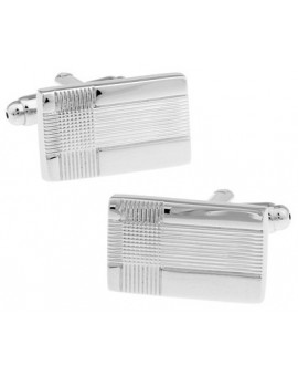 Silver Rectangle Criss-Cross Cufflinks