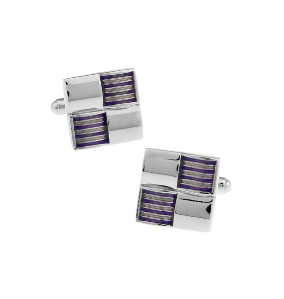 Silver and Purple Ribbed Checker Cufflinks