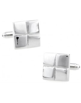 Silver Checkered Square Cufflinks