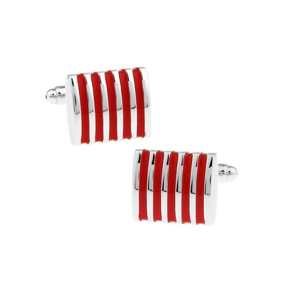 Silver and Red Striped Square Cufflinks