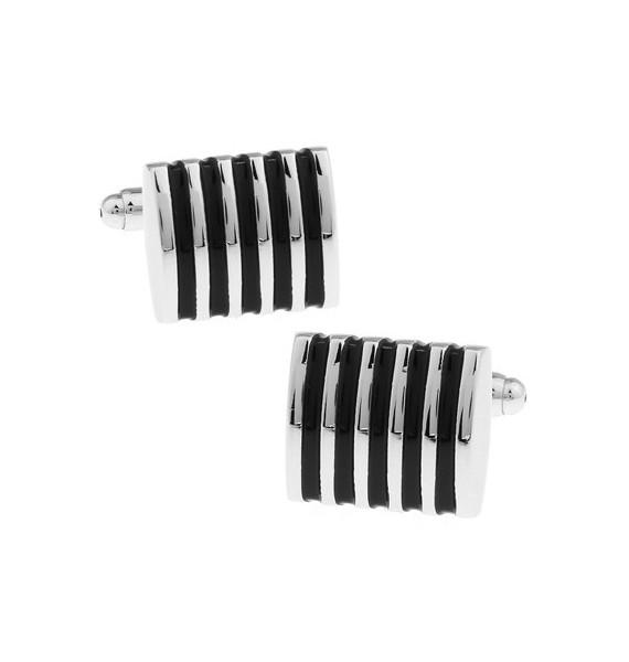 Silver and Black Striped Square Cufflinks