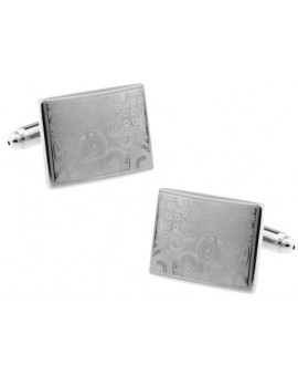 Silver Printed Floral Square Cufflinks