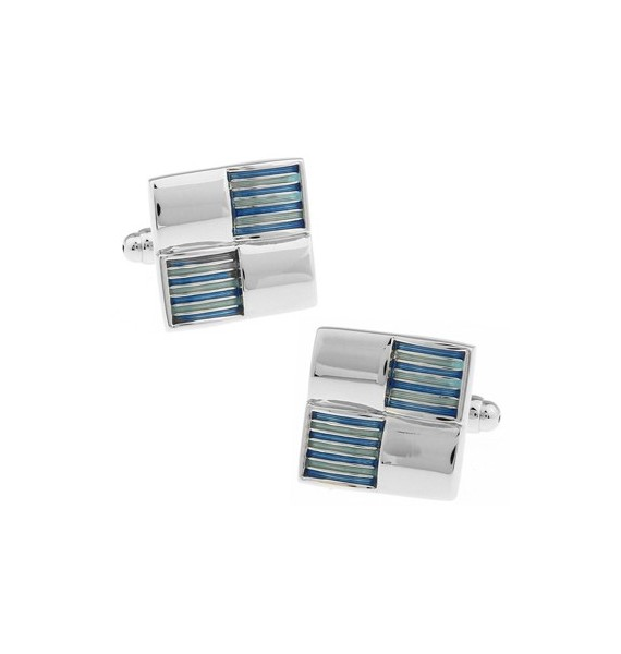 Silver and Blue Ribbed Checker Cufflinks