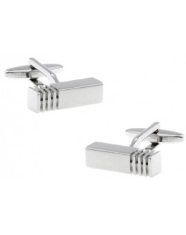 Silver Ribbed Bar Cufflinks