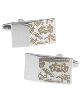 Printed Flower Wedge Cufflinks