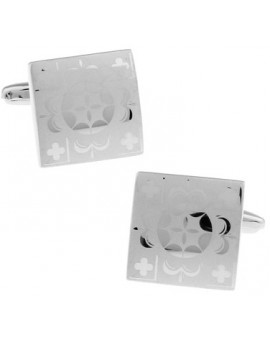 Silver Floral Square Cufflinks
