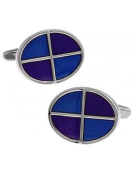 Blue and Purple Oval Cufflinks
