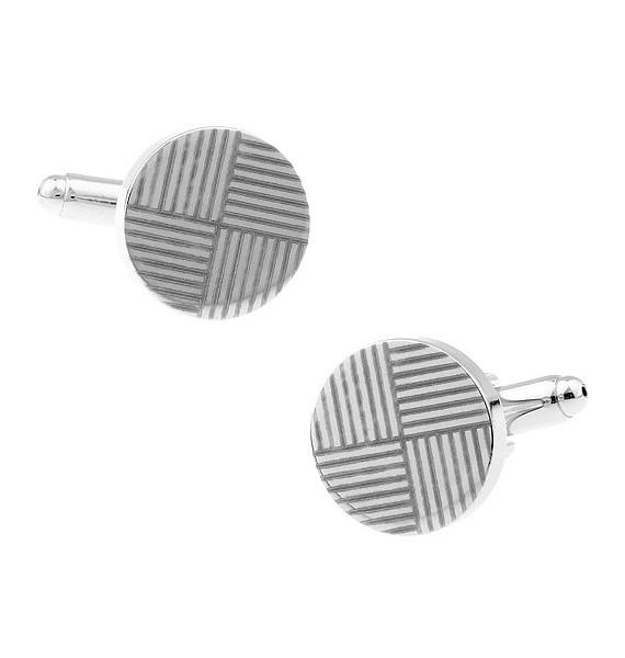 Striped Round Cufflinks