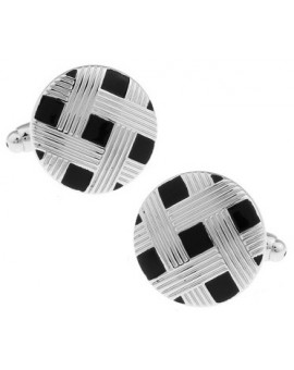 Black and Silver Lattice Cufflinks