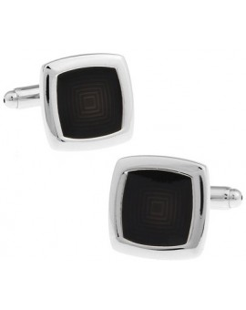 Black Rounded Edge Square Cufflinks