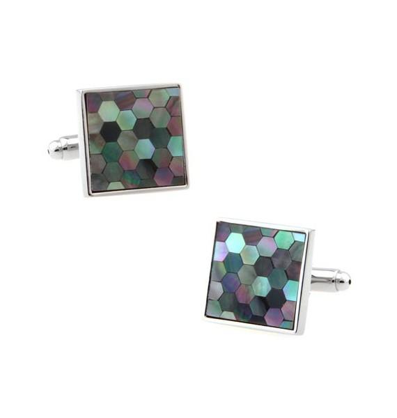 Multicolored Onyx Hexagons Cufflinks