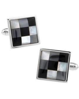 Onyx and Mother of Pearl Checker Cufflinks