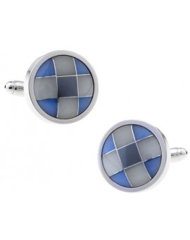 Blue and Grey Onyx Checker Round Cufflinks