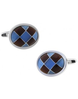 Brown and Blue Onyx Checker Oval Cufflinks