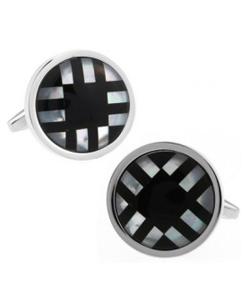 Onyx and Mother of Pearl Round Cufflinks