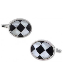 Onyx and Mother of Pearl Checker Oval Cufflinks