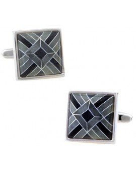 Grey Onyx Art Deco Cufflinks