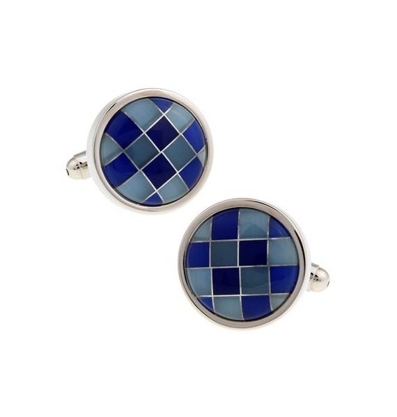 Blue Onyx Checker Round Cufflinks