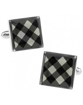 Black and White Onyx Square Tartan Cufflinks