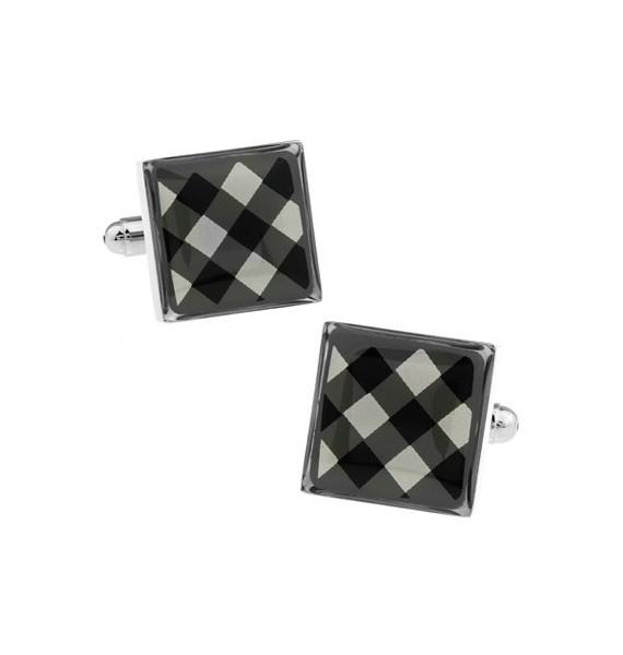 Black and White Onyx Square Tartan Cufflinks