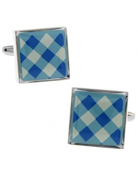 Blue and White Onyx Square Tartan Cufflinks