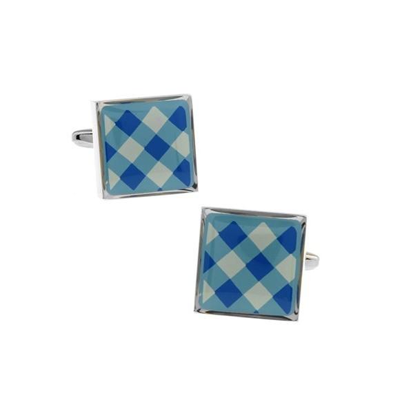 Blue and White Onyx Square Tartan Cufflinks