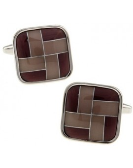 Brown Onyx Windmill Square Cufflinks