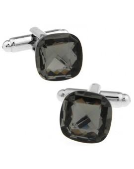 Big Grey Diamond Cut Crystal Cufflinks