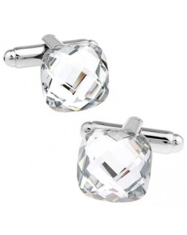 Big Diamond Cut Crystal Cufflinks