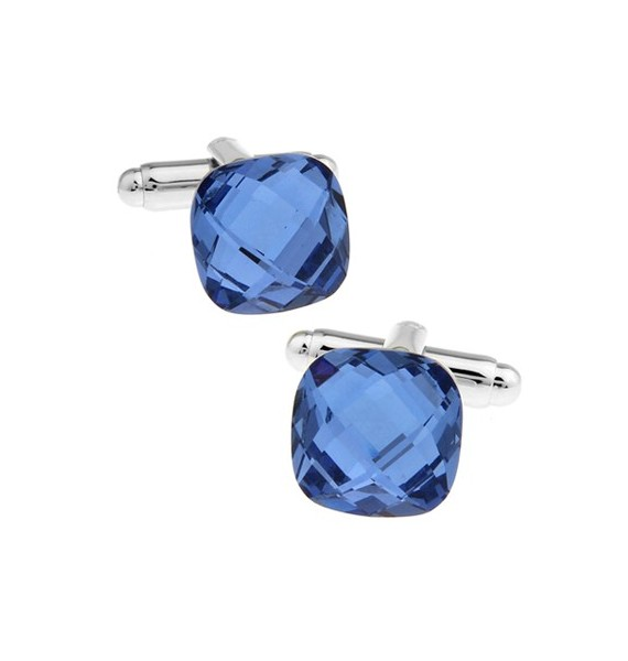 Big Blue Diamond Cut Crystal Cufflinks