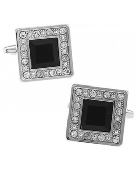 Black Crystal in White Crystal Frame Cufflinks