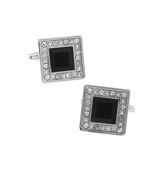 Black Crystal in White Crystal Frame Cufflinks