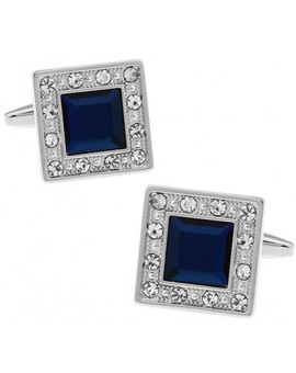 Navy Crystal in White Crystal Frame Cufflinks