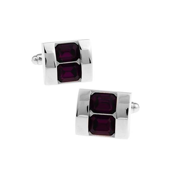 Purple Crystals Cufflinks