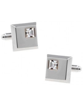 White Crystal Cufflinks